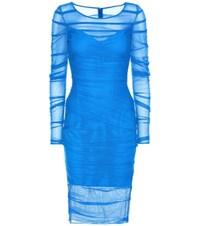 Versace Ruched Mesh Dress Blue