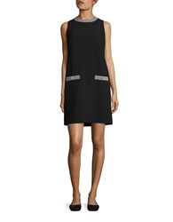 Karl Lagerfeld Houndstooth Accented Shift Dress Black