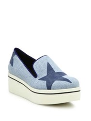 Stella Mccartney Binx Star Denim Platform Loafers Electric Blue