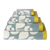 Orla Kiely Wallflower Jacquard Towel Duck Egg Cream Mimosa Bath Towel 125X70cm