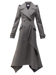 Alexander Mcqueen Draped Double Breasted Wool Blend Coat Grey Multi