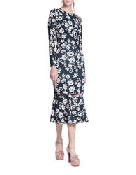 Tracy Reese Floral Cutout Trumpet Skirt Black Floral