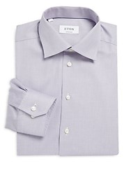 Eton Contemporary Fit Printed Button Down Dress Shirt Purple