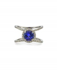 Diana M. Jewels 18K White Gold Tanzanite And Diamond Double Band Ring 0.34Tcw