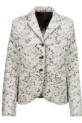 Nina Ricci Frayed Cotton Blend Boucle Tweed Blazer White