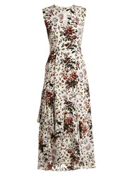 Erdem Floria Silk Crepe De Chine Dress White Print