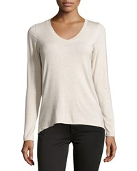 Dex Slub Knit Long Sleeve V Neck Tee Oatmeal Me