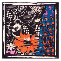 Bianca Elgar Orange Flowers Square Scarf Black White Blue