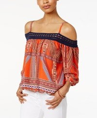 Amy Byer Bcx Juniors' Printed Off The Shoulder Top Tribal Print