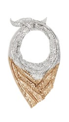 Paco Rabanne Scarf Mesh Necklace Silver Gold