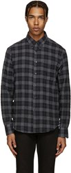 Naked And Famous Grey Plaid Flannel Shirt