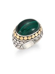 John Hardy Batu Dot Malachite 18K Yellow Gold And Sterling Silver Dome Ring Green