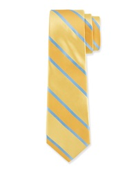 Valentino Contrast Large Striped Tie Yellow