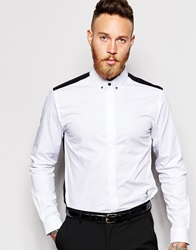 Religion X Noose And Monkey Shirt With Contrast Back Skull Collar Bar In Skinny Fit White