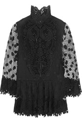 Elie Saab Cape Back Guipure Lace Top Black