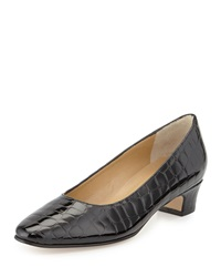 Neiman Marcus Abbie Crocodile Embossed Patent Pump Black