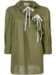 Hache Frill Peasant Blouse Women Cotton 42 Green