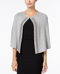 Calvin Klein Embellished Evening Cape Shawl Heather Mid Grey