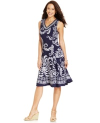 Jm Collection Petite Paisley Printed Embellished Dress Noir Paisley