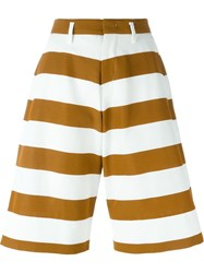 No21 Striped Wide Leg Knee Length Shorts White
