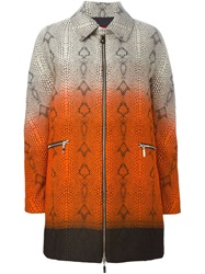 Moncler Gamme Rouge Snake Skin Texture Ombre Coat Nude And Neutrals