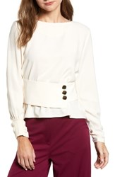 J.O.A. Belted Button Top Cream