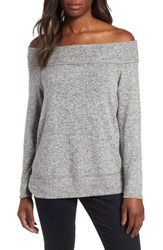 Gibson X Living In Yellow Mary Fleece Off The Shoulder Top Heather Grey