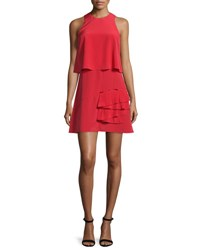 Tibi Sophia Sleeveless Silk Popover Dress Cadmium Red