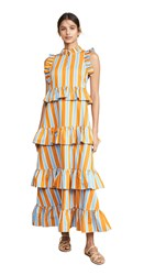 Mds Stripes Soiree Dress Blue Orange Stripe