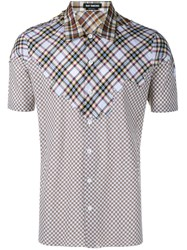 Raf Simons Check And Gingham Short Sleeve Shirt Brown