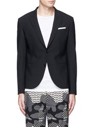Neil Barrett Peak Lapel Stretch Gabardine Skinny Fit Blazer Black
