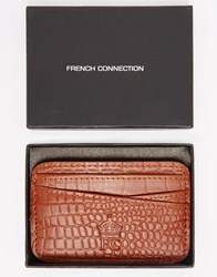 French Connection Leather Card Holder In Croc Brown