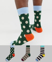 Happy Socks Hs By 3 Pack Big Dot Gift Box Multi