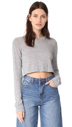 Le Kasha Cropped Crew Neck Top Mid Grey