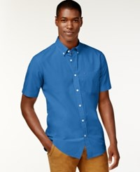 Tommy Hilfiger Big And Tall Maxwell Short Sleeve Button Down Shirt Blue Bell