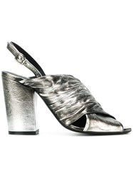 Strategia Metallic Open Toe Sandals Grey