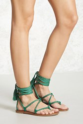 Forever 21 Faux Leather Ankle Wrap Sandals