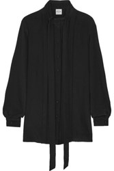 Tod's Pleated Silk Crepe De Chine Shirt Black