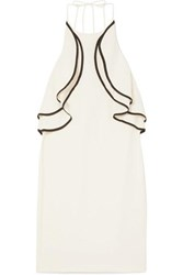 Halston Heritage Ruffled Crepe Halterneck Mini Dress Cream