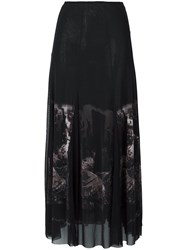Jean Paul Gaultier Vintage Sheer Printed Skirt Black