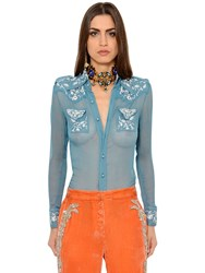 Roberto Cavalli Embroidered Silk Crepon Chiffon Shirt