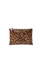 Clare V. Flat Calf Hair Clutch Brown