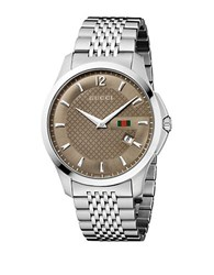 Gucci Stainless Steel Brown Dial Chain Link Watch Silver