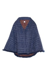 Stella Jean Plaid Blanket Jacket Blue