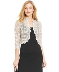 R And M Richards Scalloped Sequin Lace Bolero Champagne
