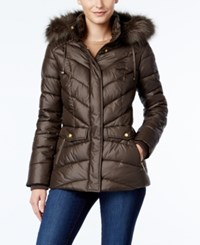 Jones New York Faux Fur Trim Hooded Puffer Coat Dark Taupe