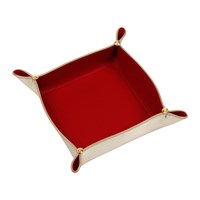 Versace Leather Tray Bowl Gold Red Medium
