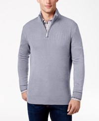 Geoffrey Beene Men's Quarter Zip Drop Needle Sweater Medium Blue
