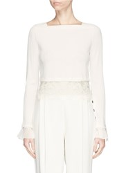 3.1 Phillip Lim Floral Guipure Lace Cropped Rib Knit Sweater White