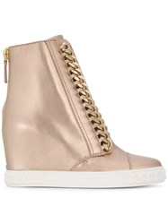 Casadei Chain Trimmed Wedge Sneakers Nude And Neutrals